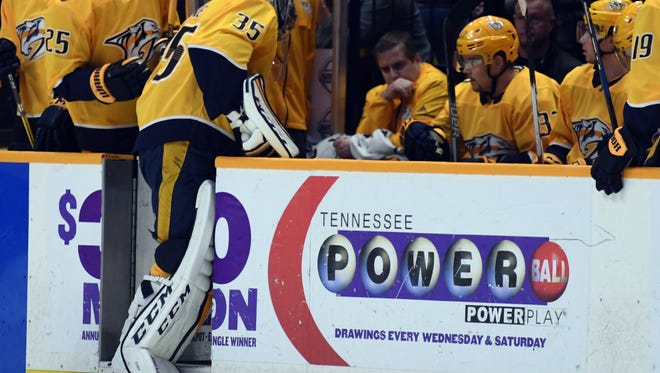 Dec 21, 2017; Nashville, TN, USA; Nashville Predators goalie Pekka Rinne (35) is taken out of the game after allowing four goals during the first period against the Carolina Hurricanes at Bridgestone Arena. Mandatory Credit: Christopher Hanewinckel-USA TODAY Sports
