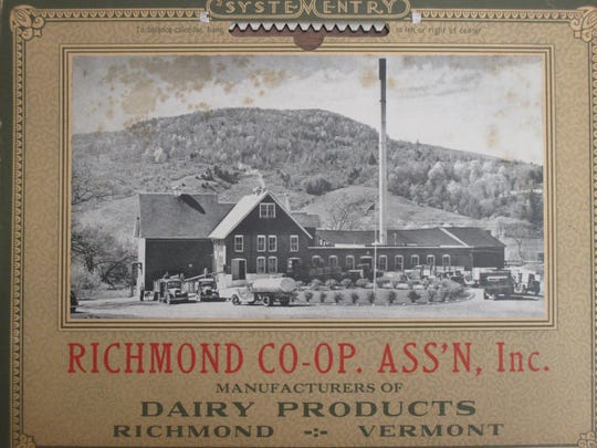 Richmond Co-op Association calendar cover with a photo of the creamery. Date unknown.