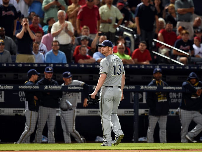 May 21: Brewers relief pitcher Will Smith reacts after