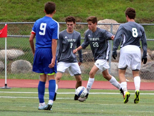 Connor Finn of Ramapo (20) moved from midfielder to