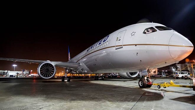 This file photo shows United's new Boeing 787-9 Dreamliner at LAX's Terminal 7, gate 74, on Oct. 26, 2014 prior to launching nonstop service to Melbourne, Australia.