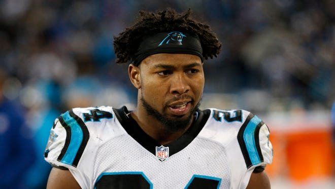 Carolina Panthers cornerback Josh Norman (24) on the sideline during the fourth quarter against the Arizona Cardinals in the NFC Championship football game at Bank of America Stadium.