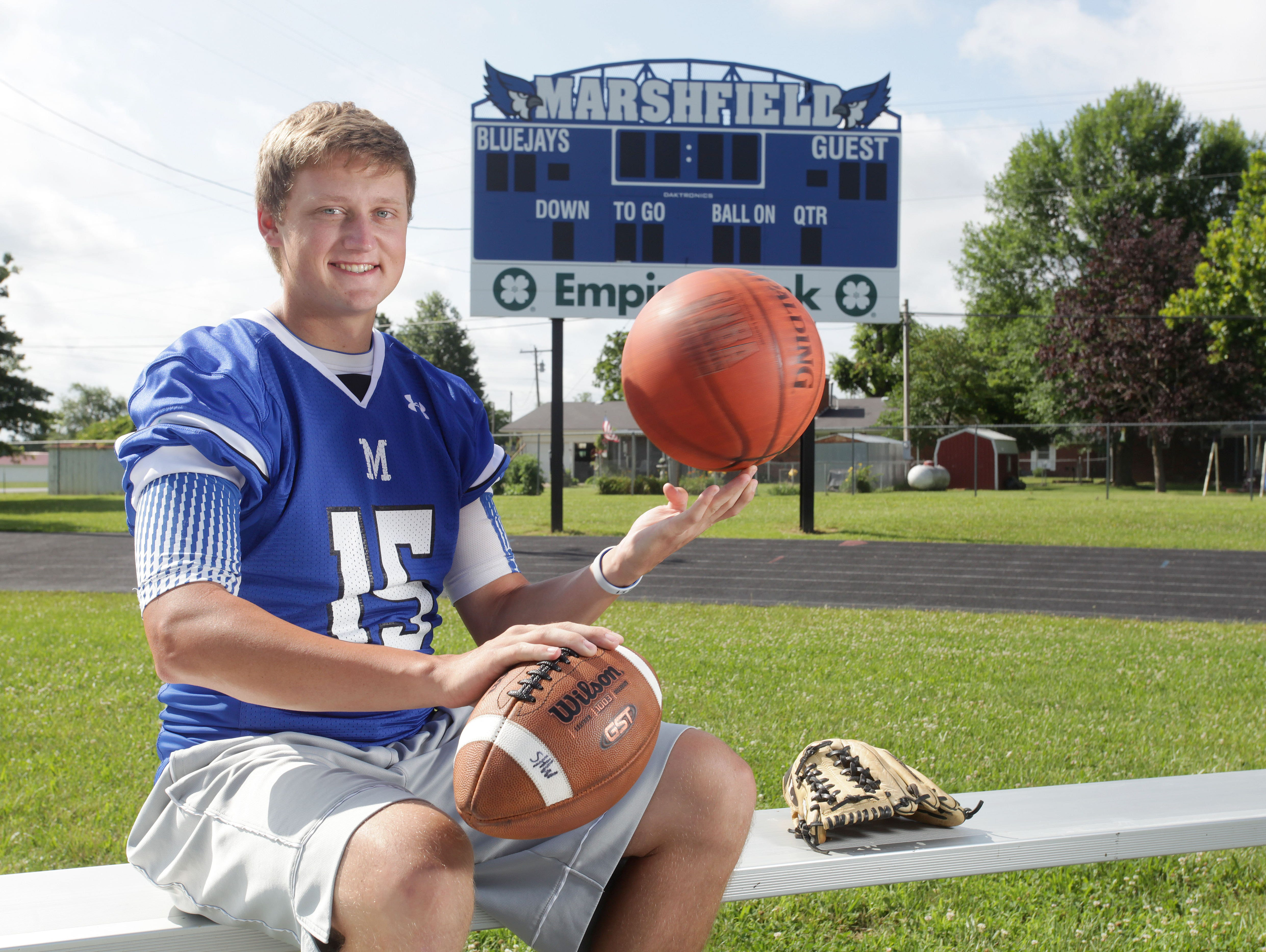 Marshfield's Blayne Armstrong starred in four sports throughout his high school career, earning News-Leader Male Athlete of the Year honors as a senior.