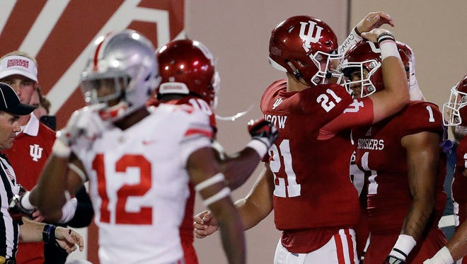 Richard Lagow (21) celebrated with friend Simmie Cobbs Jr. in a 2017 game against Ohio State.