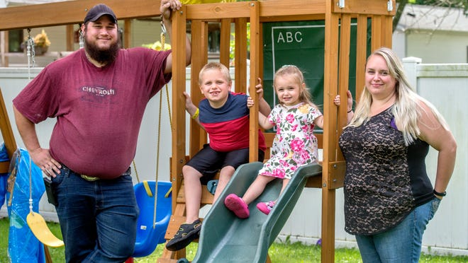 Kaitlyn West, far right, 28, of Toluca, was hospitalized on March 19 with severe COVID-19 symptoms and tested positive for the deadly disease on March 23, the first person in Marshall County to test positive. Her husband, Brandon, and daughter, Aurora, 2, also got sick but were unable to get tested. Her son, Nicklus, 7, went into quarantine with his grandmother.