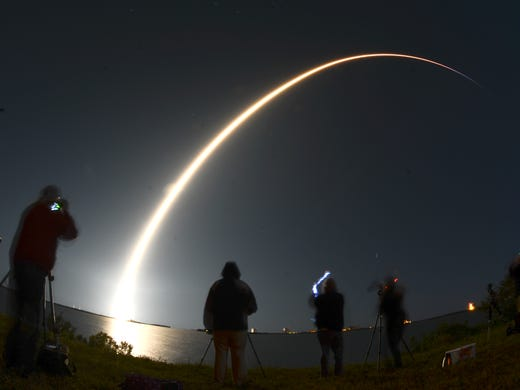 A SpaceX Falcon 9 rocket takes off from Pad 39A