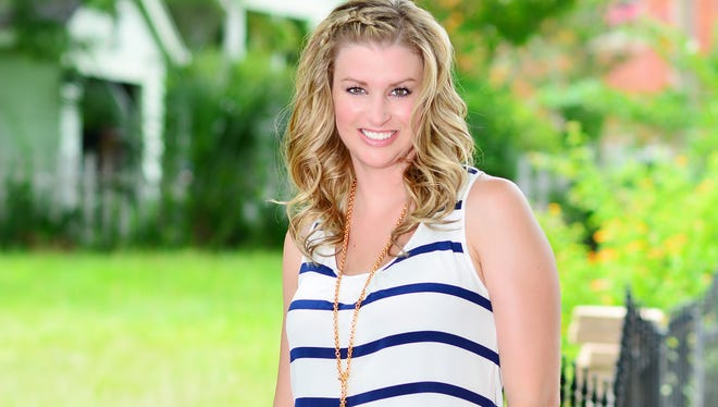 Tiffiny wearing an Annie Griffin Stripe Tank, $172, Annie Griffin Navy Scalloped Short,$145, Sylvia Benson Long Gold Necklace- $95 and a Sylvia Benson Gold Bracelet, $105, all from Bluetique.