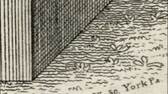 Zooming into lower right of William Wagner sketch of Philip Livingston monument in Prospect Hill Cemetery, Manchester Township, York County, PA (Digital Collections of the University of Pittsburgh)