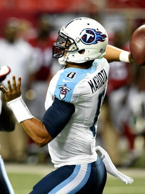 Marcus Mariota made his NFL debut in the Titans' 31-24 loss at Atlanta on Friday.