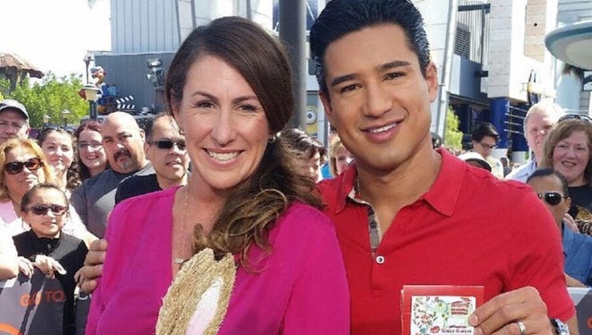 Stacie Krajchir-Tom on set for Extra TV with host, Mario Lopez.