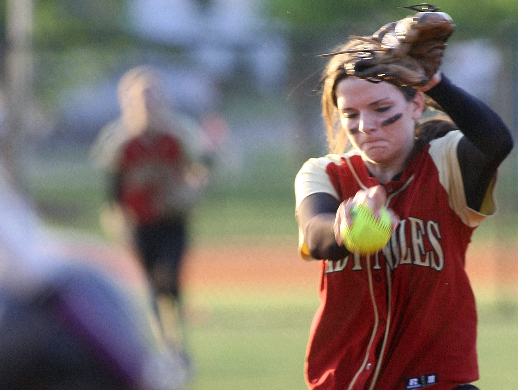Florida High pitcher Taylor Rossman winds up before striking out a Marianna batter in the third inning of their Class 3A regional quarterfinal softball game on April 27, 2010. Rossman had 14 strikeouts as the Seminoles won 1-0.