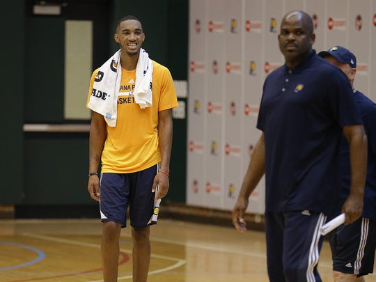 Terrance Ferguson, who most recently played in Adelaide, Australia, after his workout for the Pacers on Monday.