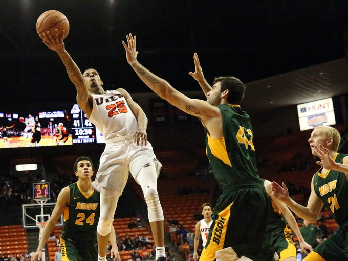 UTEP guard Keith Frazier, 25, drives for a layup against