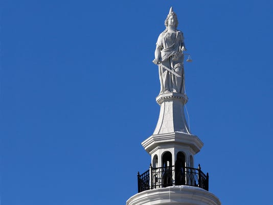 LAF Lady Justice on Tippecanoe County Courthouse