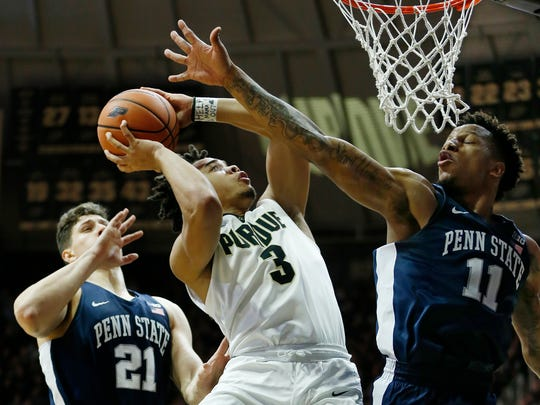 Carsen Edwards of Purdue with a drive to the basket against Lamar Stevens of Penn State Sunday, February 18, 2018, at Mackey Arena.