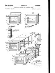 These drawings are part of the patent for a combination of cabinet and extensible table awarded in 1950 to Hyman Medwin, grandfather of Steve Medwin, a Raymond Corp. engineer among those honored Wednesday by the company for earning patents on the forklift maker's behalf.
