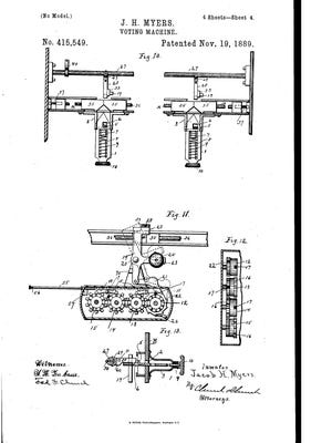 A drawing from Jacob Myers' 1889 voting machine patent.