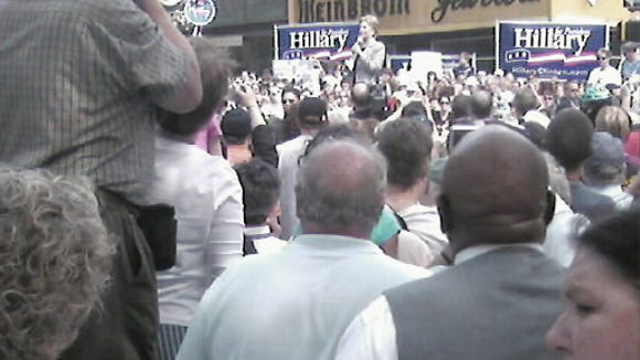Hillary Clinton takes the stage in her presidential campaign stop in 2008.The platform stood at Market and Beaver streets in York.