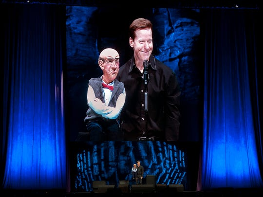 Jeff Dunham and Walter entertain the Pan American Center crowd Monday, May 2, 2016.