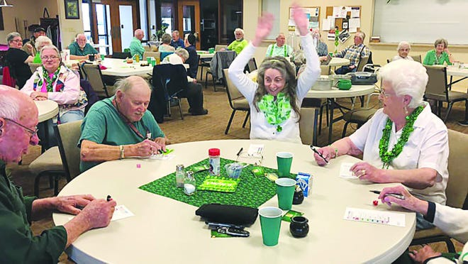 Kiowa County Senior Center participants enjoyed some fun and games on Tuesday, during their St. Patrick's Day party, before the center closed because of CDC and KDHE coronavirus spread guidelines.