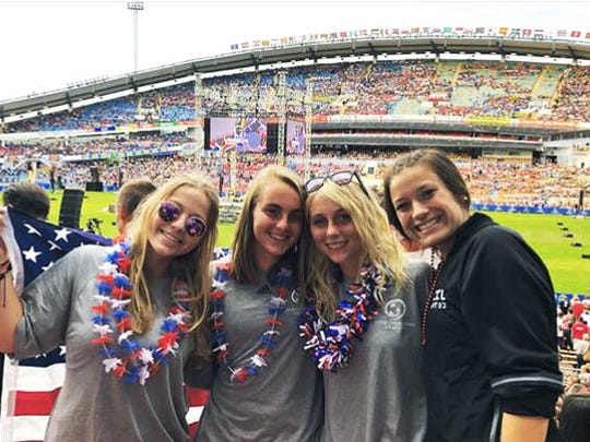 Wilson Memorial rising junior Kendall Piller, secpond from right, poses with teammates prior to the opening ceremonies for the Gothia Cup youth soccer tournament on Monday, July 16, 2018, at Nya Ullevi in Gothenburg, Sweden.