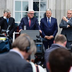 European Union foreign ministers meet in Berlin on June 25.