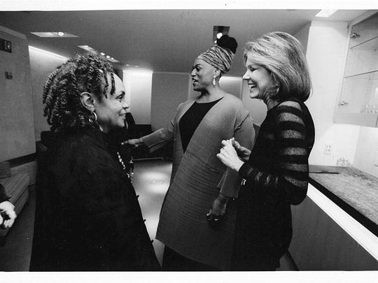 Jessye Norman in the background with poet Sonia Sanchez, left, and Gloria Steinem.