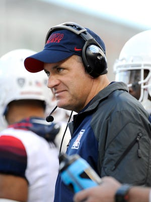 Oct 25, 2014: Arizona Wildcats head coach Rich Rodriguez looks on during a game against the Washington State Cougars during the first half at Martin Stadium.