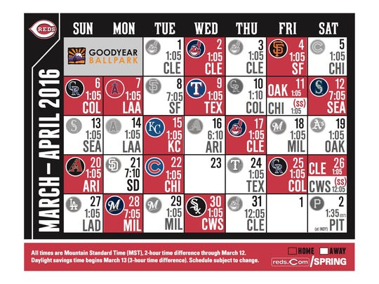 Reds 2016 spring training schedule