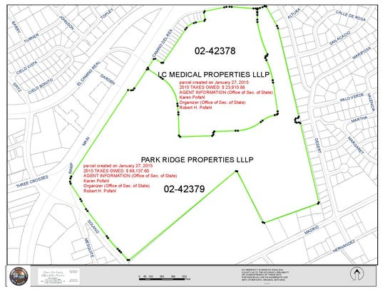 A map of the former Las Cruces Country Club property