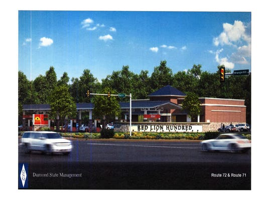 A rendering shows the proposed Wawa in Red Lion.