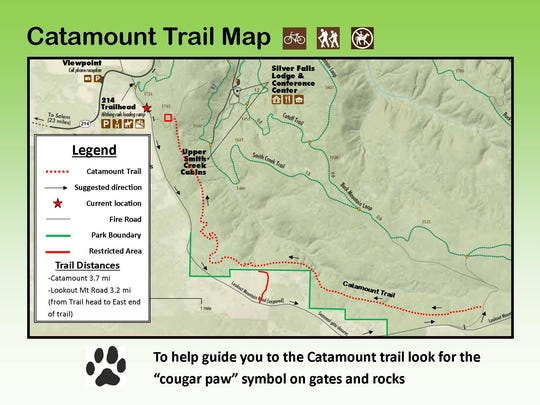 This rough map shows the new Catamount Trail, a mountain-biking specific trail at Silver Falls State Park now open to the public.