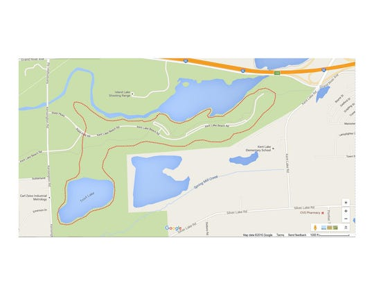 The dotted red line shows the path of the new 5-mile trail for hikers.