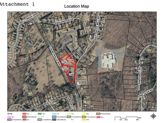 A map of the potential apartments development.