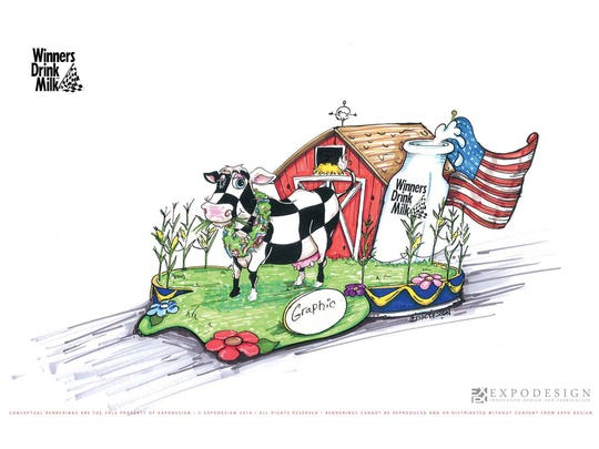 """American Dairy Association Indiana, Inc.'s entry in the 2017 IPL 500 Festival Parade, """"Spirit of the Champion."""""""