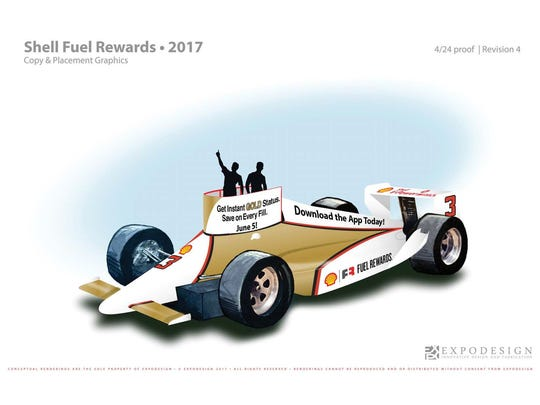"""Shell Fuel Rewards' float entry in the 2017 IPL 500 Festival Parade, """"Accelerate Your Savings."""""""