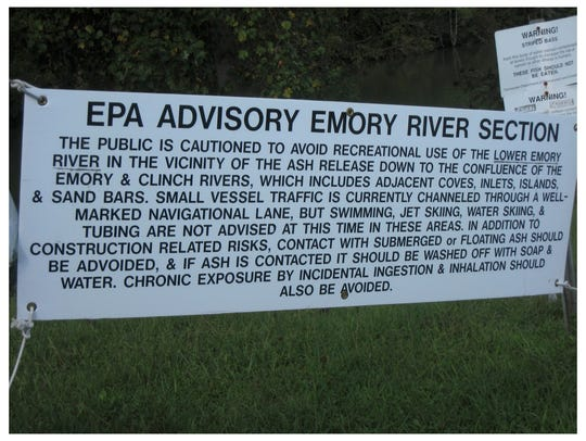Signs warned the public of the danger of coal ash,