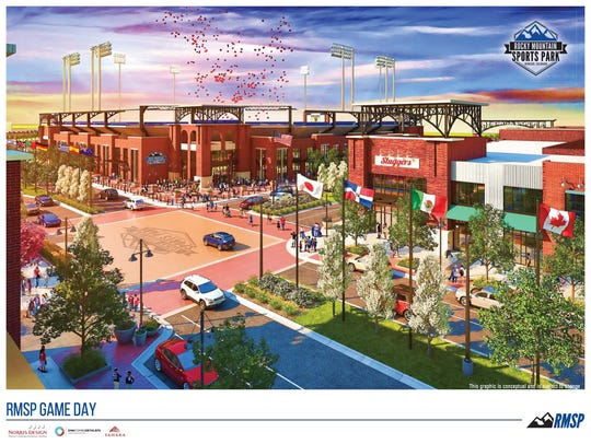 "A rendering of the ""stadium district"" of the Rocky"
