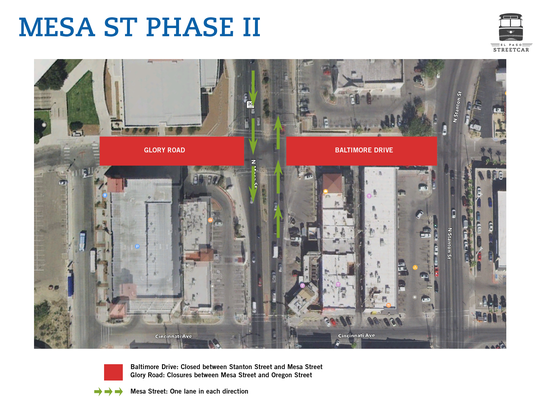 Only one lane in each direction will be open along Mesa Street around UTEP starting July 5 for the trolley project.