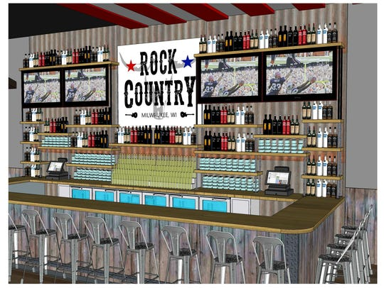 A rendering shows the bar area of Rock Country, 11400