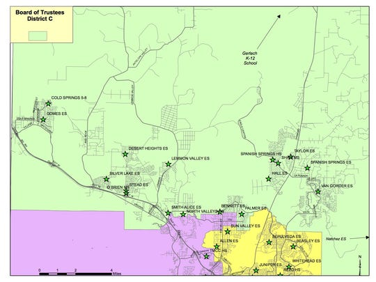 A map of Washoe County School District's school board District C.