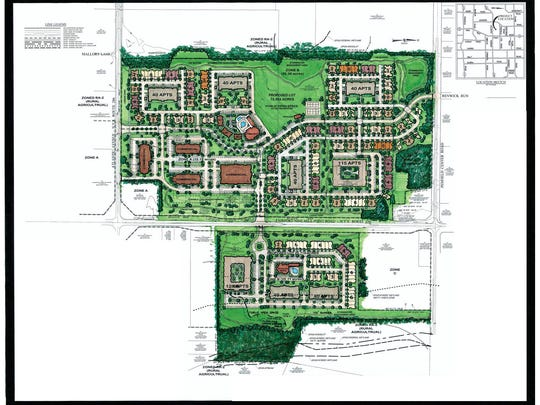 A proposed 98-acre development is set to include 468 dwellings, including apartments, town homes and patio homes, and several office buildings.