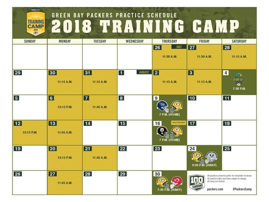 Packers training camp schedule for 2018