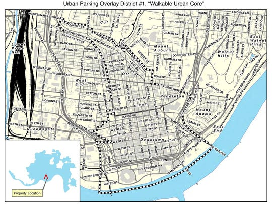 The city of Cincinnati has proposed an urban parking overlay district in which parking won't be required for new developments.
