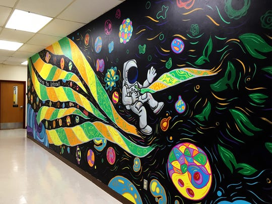 Joe Pimentel's mural at Beekman Elementary School in