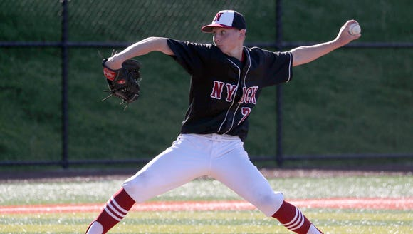 Michael Pavelchak of Nyack pitches to John Jay during