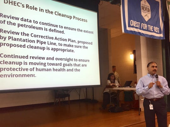 South Carolina Department of Health and Environmental Control staff member Mihir Mehta briefed Cheddar and Broadway Lake residents about the department's oversight of cleanup work at Kinder Morgan's gasoline spill site near Belton.