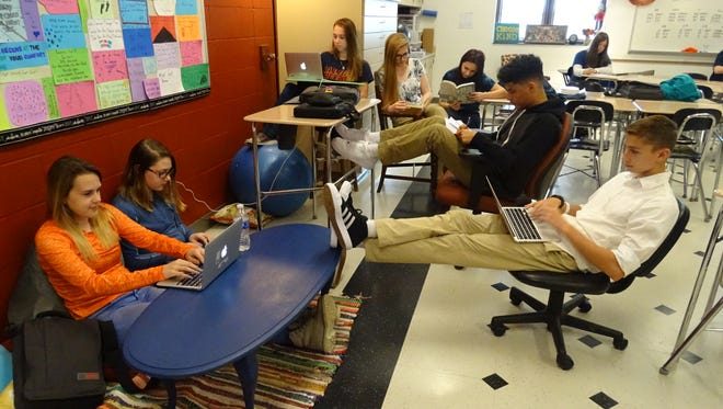 Students at Galion High School say they learn more in classrooms that have implemented flexible seating.