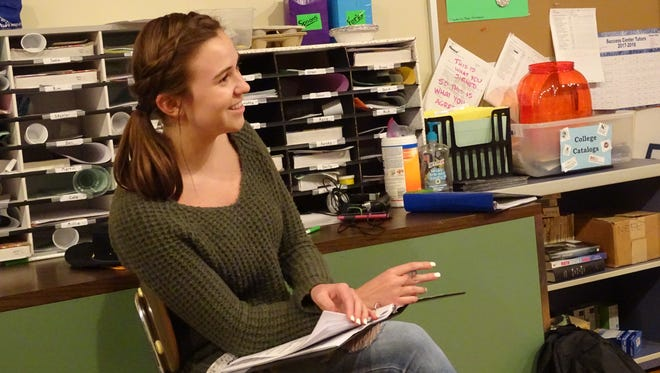 """Ellie Nickoli awaits her part in a rehearsal for """"Joseph and the Amazing Technicolor Dreamcoat."""""""