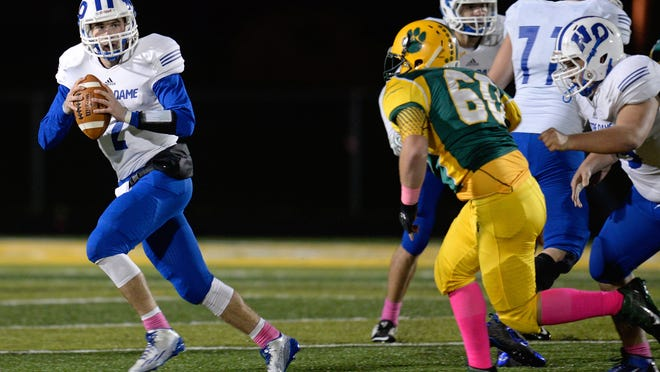 Green Bay Notre Dame will be without starting quarterback Charlie Rotherham in the playoffs after he broke his collarbone last Friday against Ashwaubenon.